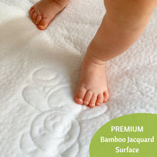 Load image into Gallery viewer, Jacquard Bamboo Crib Mattress Protector 52x28 in