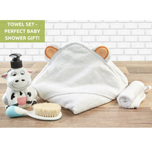 Load image into Gallery viewer, Bamboo Baby Hooded Towel And Washcloth Set