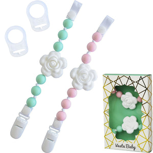 Silicone Pacifier Clip and Teether Holder Set
