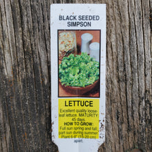 Load image into Gallery viewer, Lettuce - Leaf - Simpson Black Seeded
