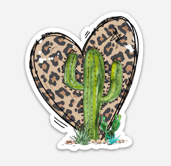 Leopard cactus heart sticker