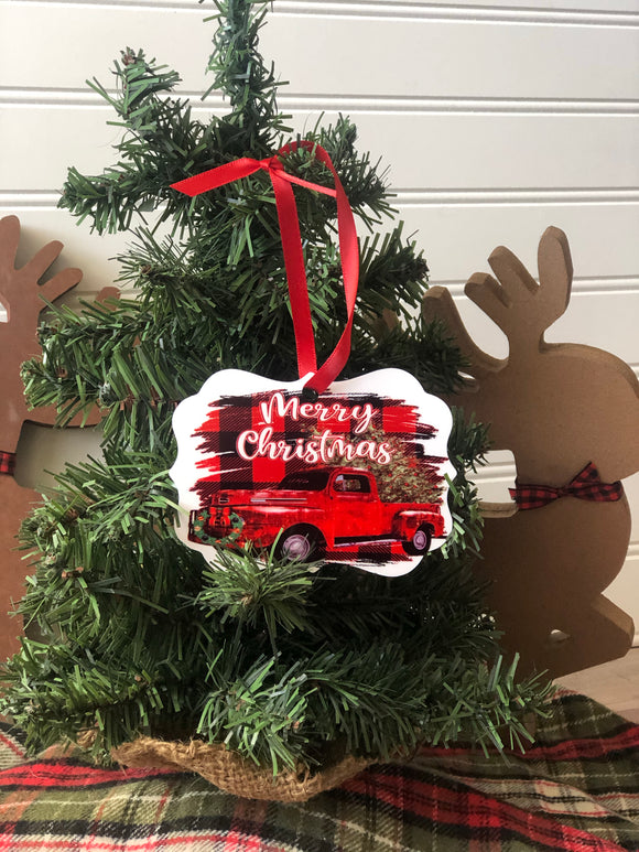 Merry Christmas truck ornaments