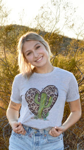 Leopard heart and cactus tee