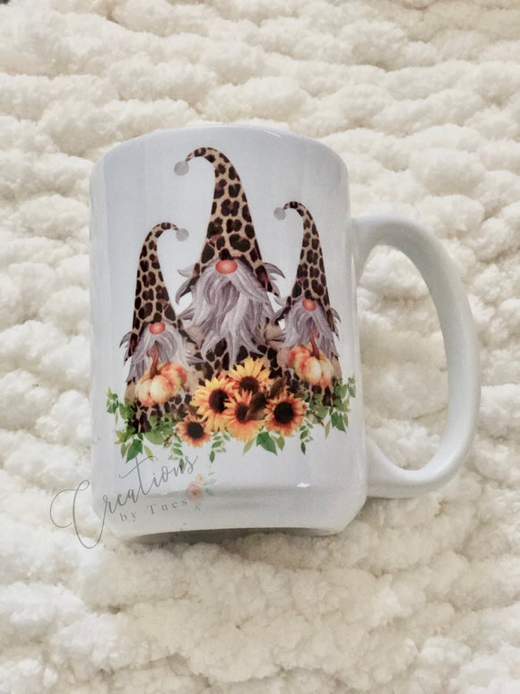 Fall sunflower gnome mug
