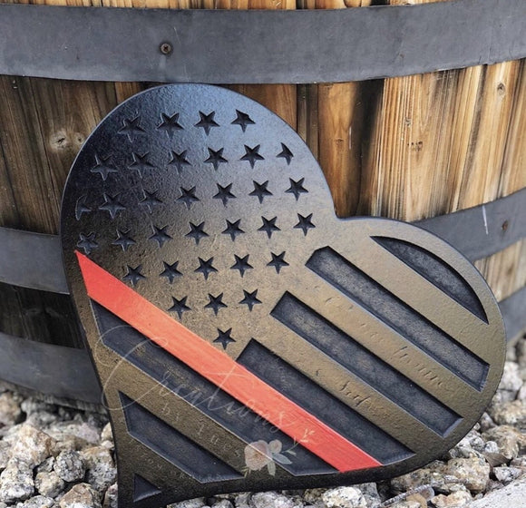 Thin red line 3D heart flag