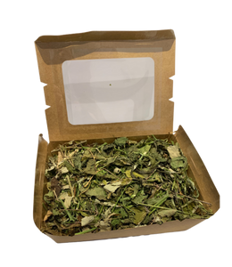 forage box filled with heathy leaves