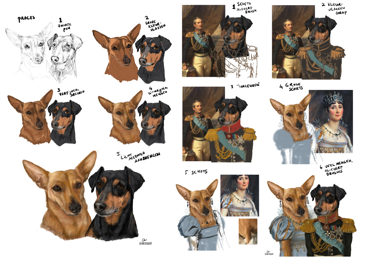 dachshund painting classical painting dog painting dog potrait pet potrait rescued dog painting