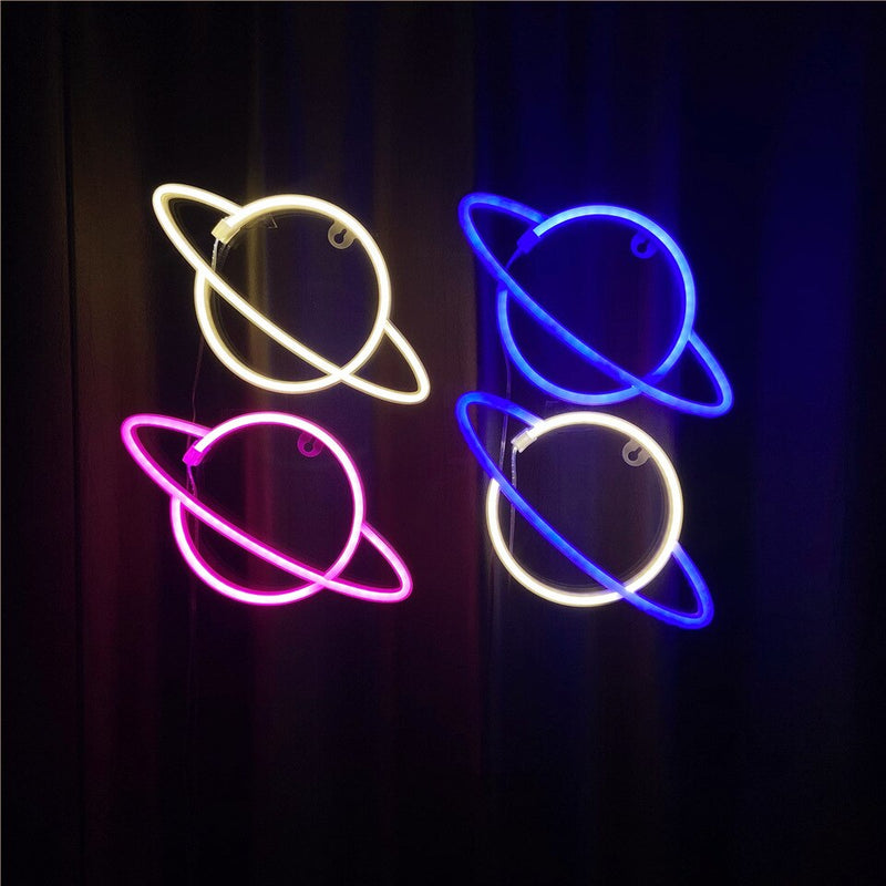 Saturn LED Neon Planet Sign by Ocean Galaxy Light™