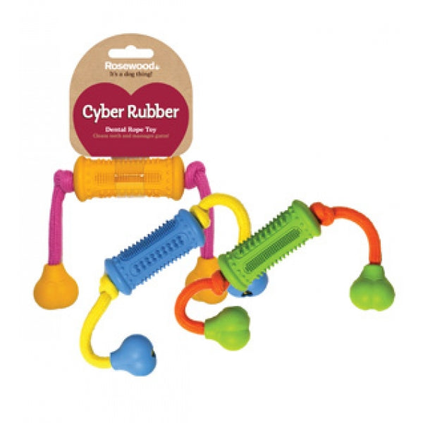 ROSEWOOD PET CYBER RUBBER ROLLER WITH ROPE DENTAL TOY - ASSORTED COLORS