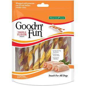HUESO DE CARNAZA GOOD-N-FUN TRIPLE FLAVOR TWISTS 5.4 OZ
