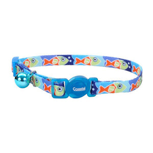 "SAFE CAT FASHION COLLAR FISH BLUE 3/8"" X 8""-12"""
