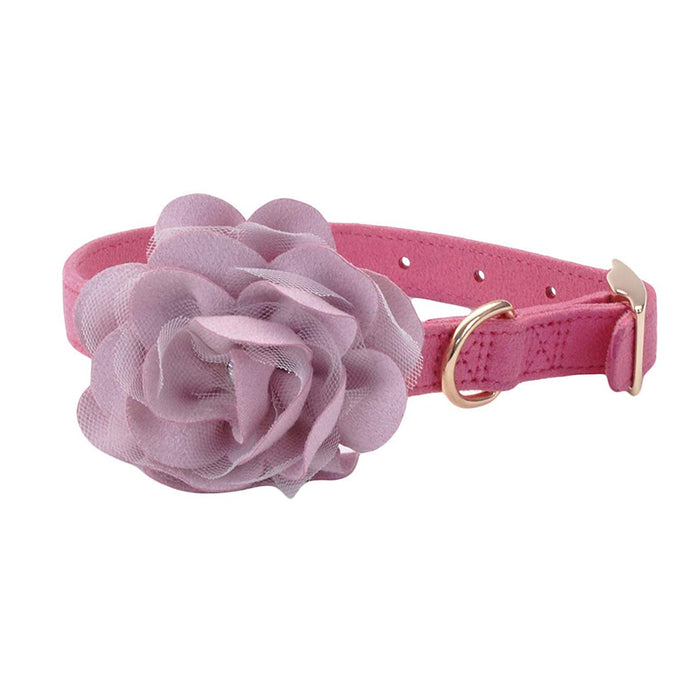 COASTAL ® ACCENT MICROFIBER COLLAR POSH PINK WITH FLOWER 5/8""