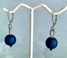 Load image into Gallery viewer, Sea Lily Blue Geode Earrings