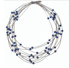 Load image into Gallery viewer, Sea Lily Piano 10 Layer Piano Wire and Blue Geode Necklace