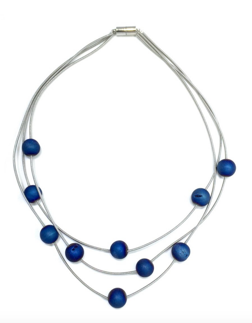 Triple Strand Blue Geode Necklace