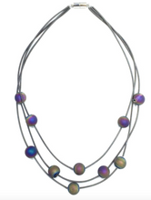 Load image into Gallery viewer, Triple Strand Iridescent Geode Necklace