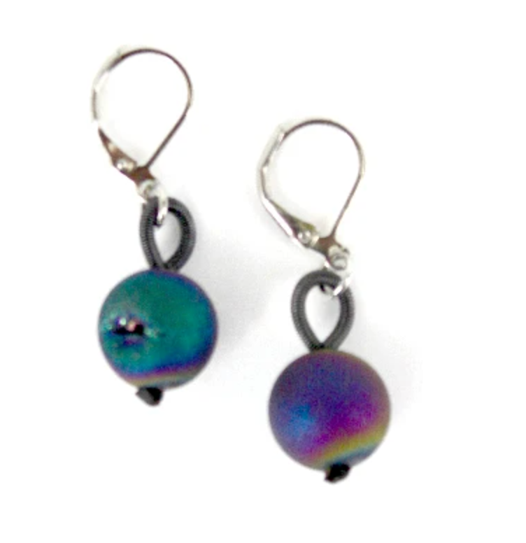 Sea Lily Irridescent Geode Earring