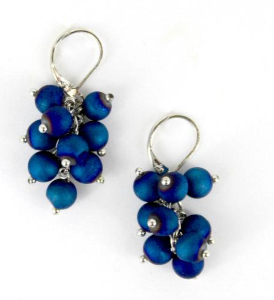 Cluster Geode Earrings-Blue