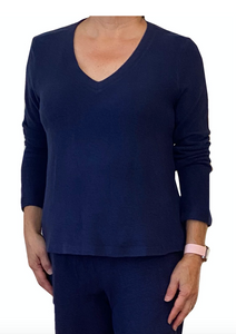 La Cera V-Neck Comfort Collection Long Sleeve Top (4 Colors)