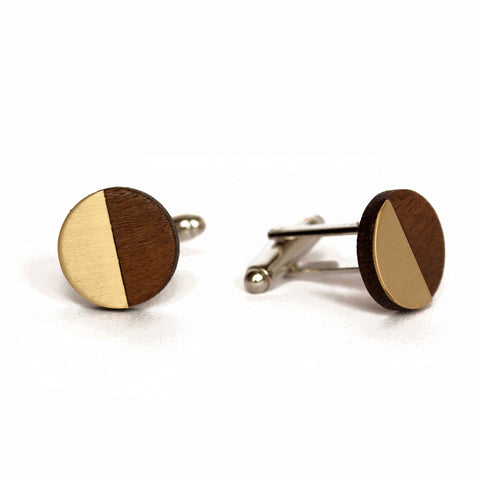 James Circular cufflinks - brass, steel & copper