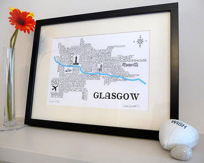 Glasgow Satnav - Prints - Dead Famous Cities - 1