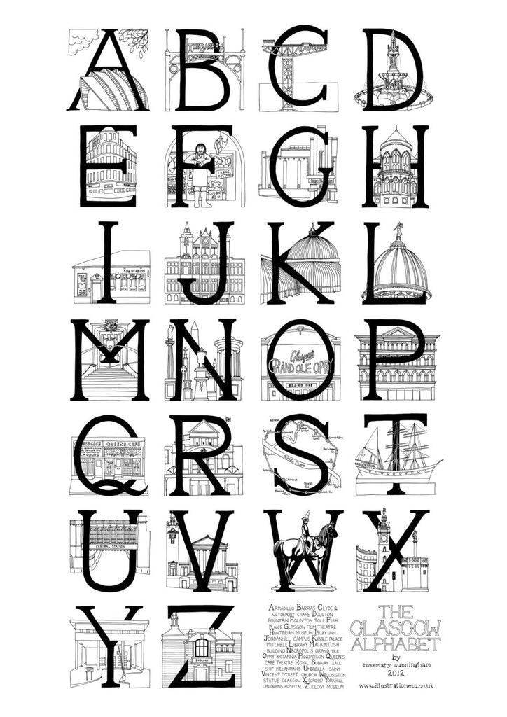 Glasgow Alphabet - Black and White - Prints - Rosemary Cunningham - 1