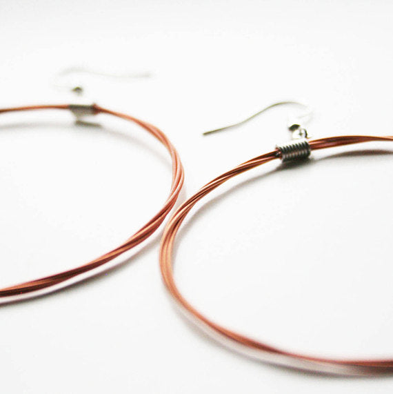 68baa4299 Guitar String Hoop Earrings - Large Copper – the shop of interest