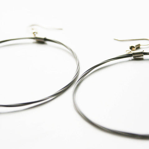 Guitar String Hoop Earrings - Large Silver