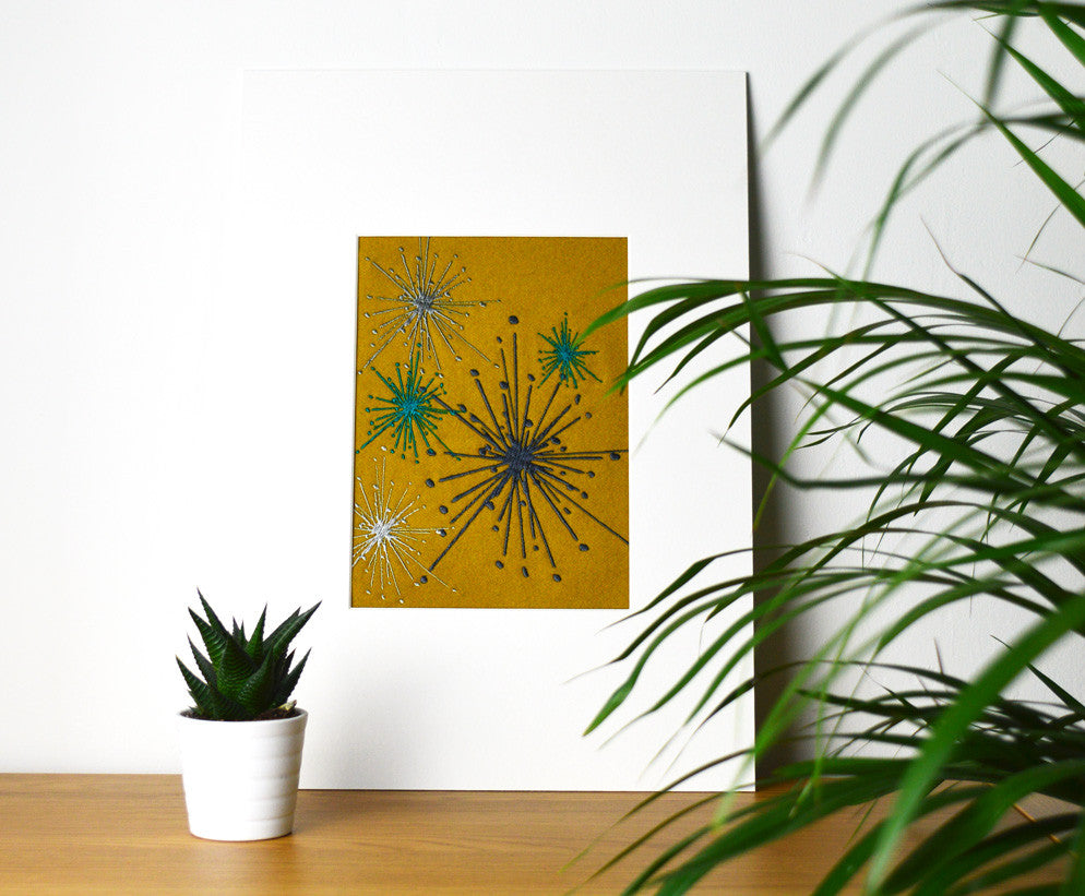 Dandelion Cluster - Embroidered fabric