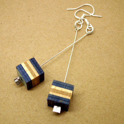 Skateboard cube drop earrings