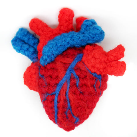 Crocheted Anatomical Heart - Red
