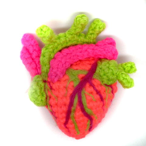 Crocheted Anatomical Heart - Bright