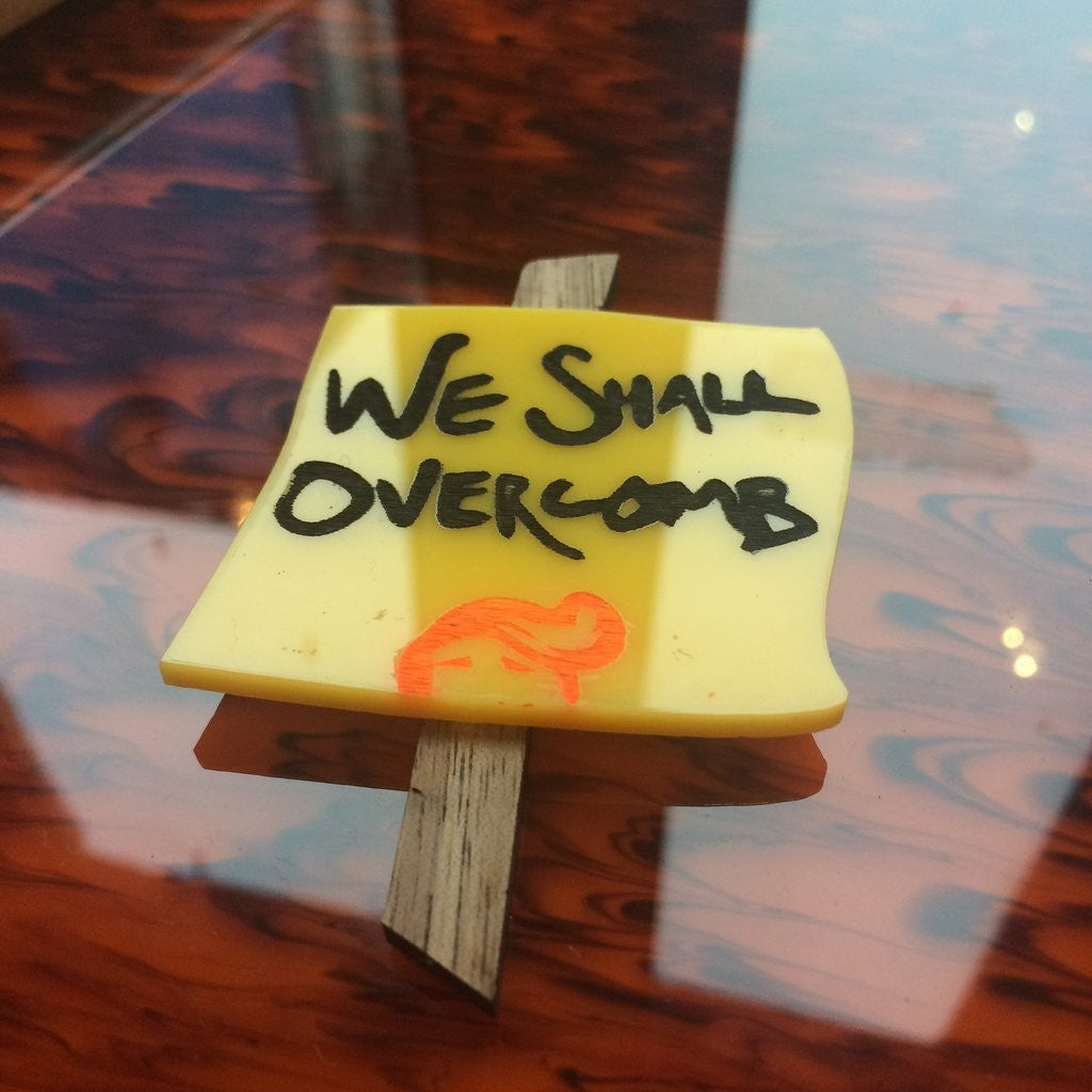 Mini Protest Brooch - We Shall Overcomb