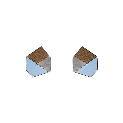 Gwen Formica Studs - Peaceful Blue