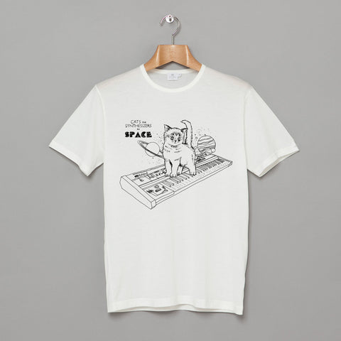 Cats on Synthesizers in Space t-shirt - white