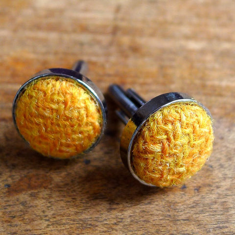 Harris Tweed Cufflinks - Mustard Yellow