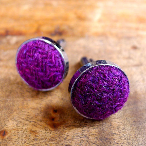 Harris Tweed Cufflinks - Plum