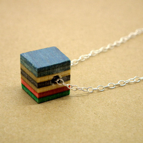 Skateboard cube necklace