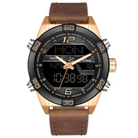 Men Military Sport Watch Quartz Waterproof Leather Band