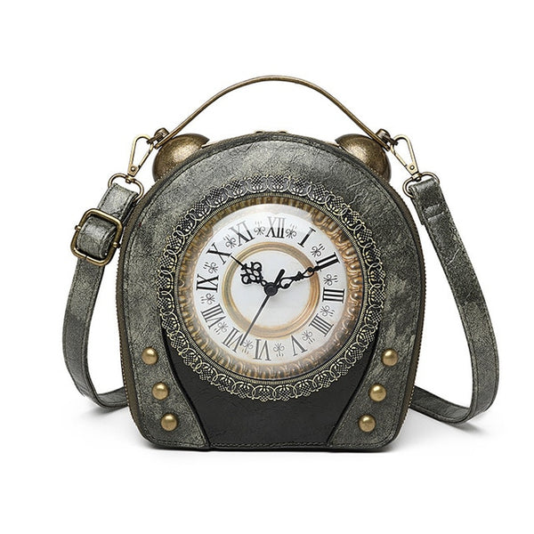 Women Handbag Leather With Realtime Clock