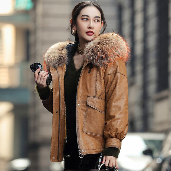 Real Leather Women Jacket Sheepskin Coat