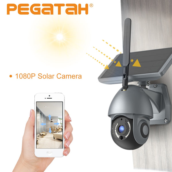 Solar Camera WiFi 1080p Charging Battery Wireless PIR Motion Detection CCTV