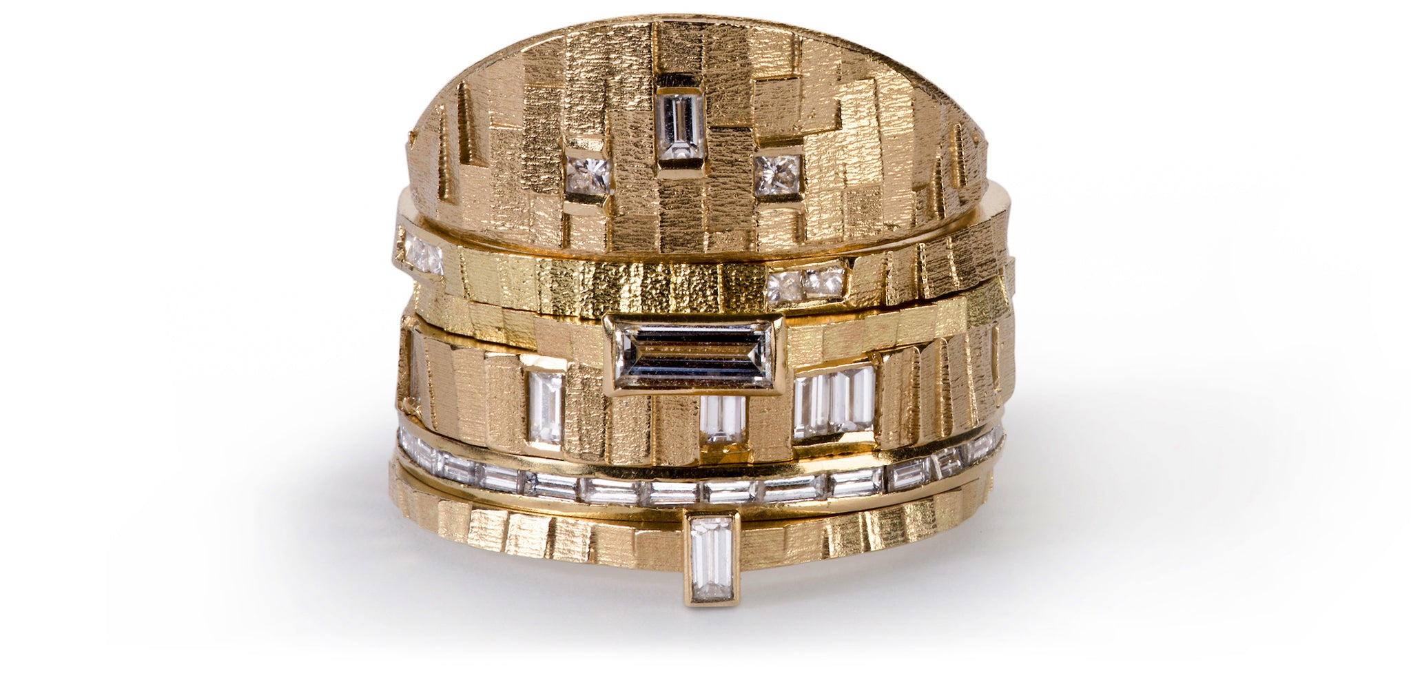 Square and Deco stacking rings