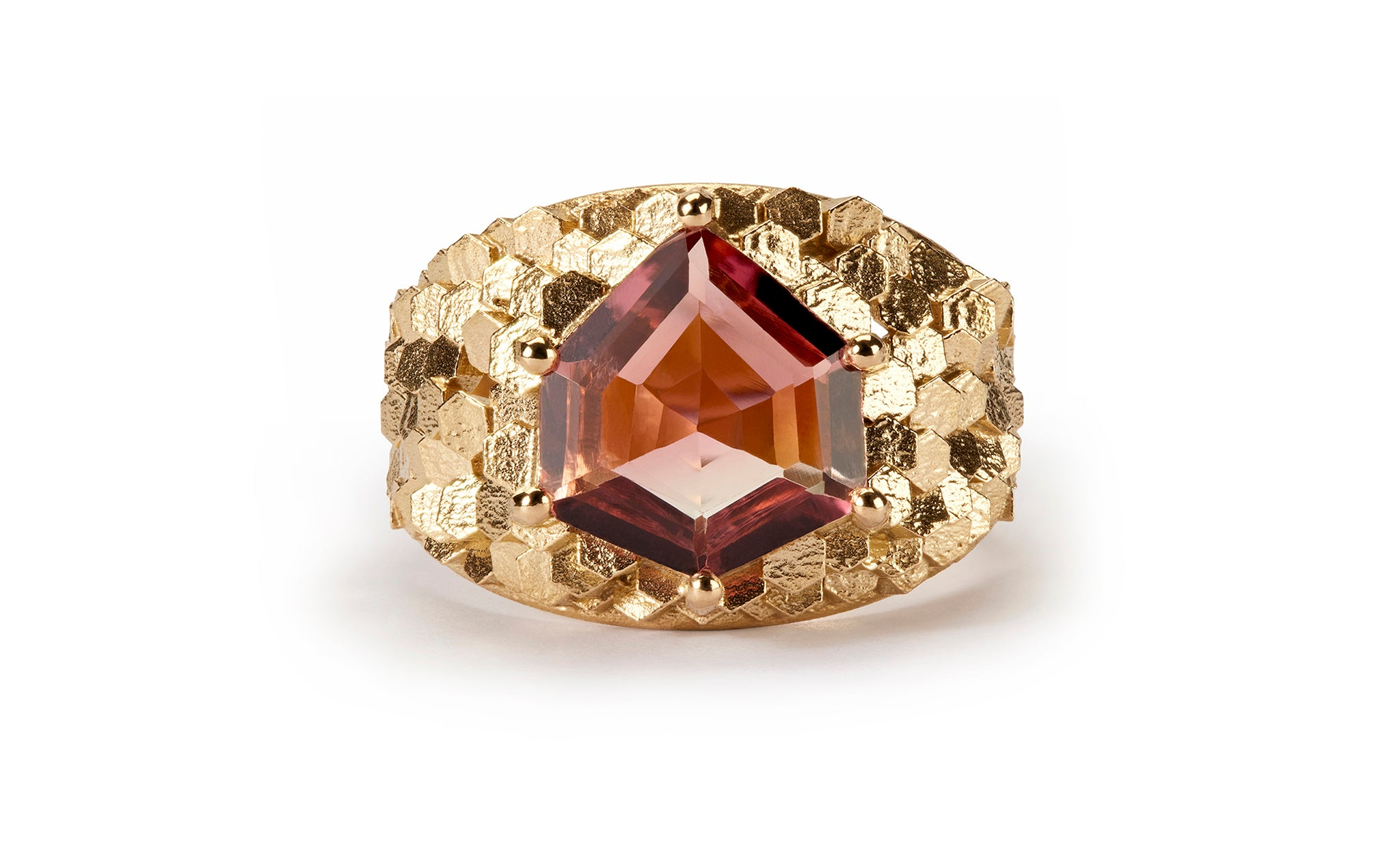 Tapered Chaos Hex ring with Geocut Pink Tourmaline