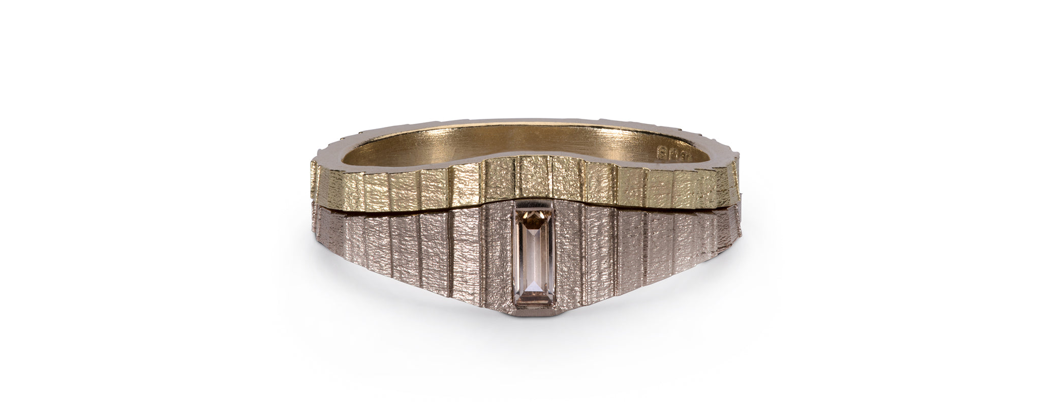 Tapered square band wedding ring set