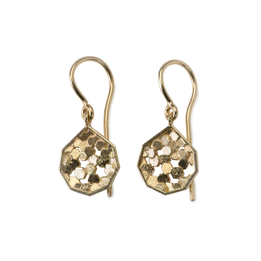 10mm chaos hex koin drop earrings
