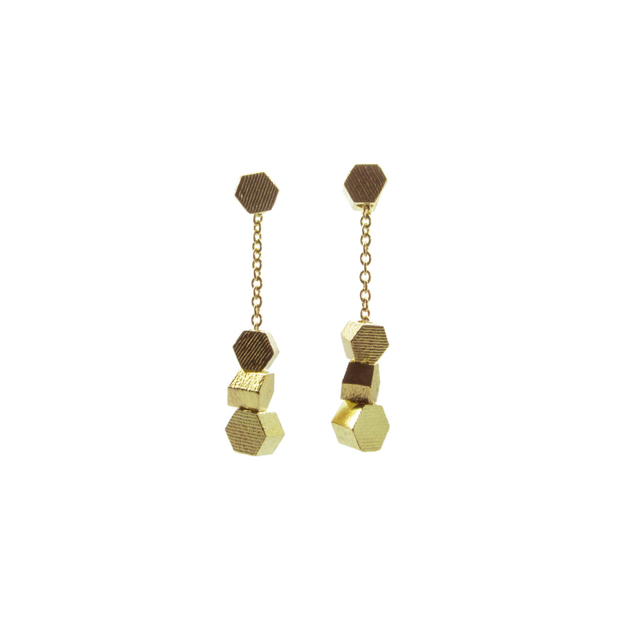 Extra Short chain hex drop earrings