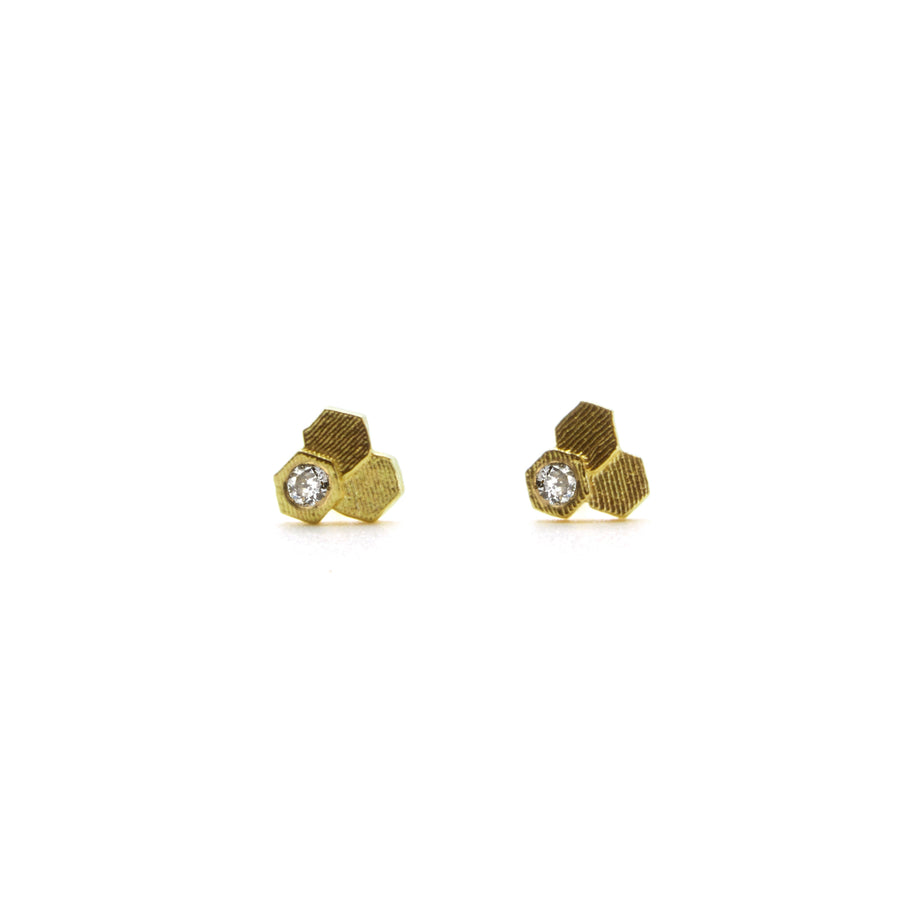 Three chaos Hex Stud earrings