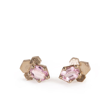 Pink Sapphire Chaos Hex Stud Earrings