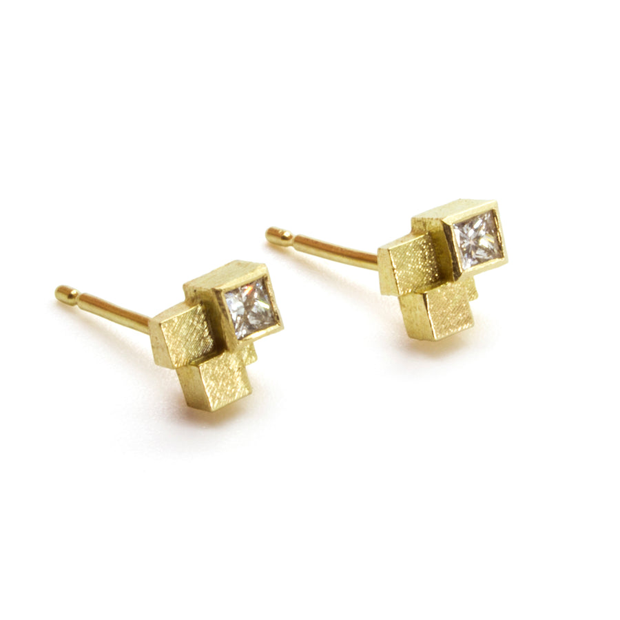 Four Cube Stud Earrings with princess cut diamonds
